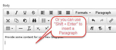 Shortcut in WYSIWYG for Generating Paragraphs