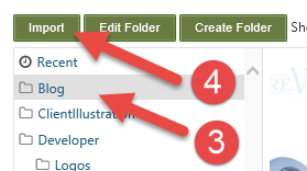 Orchard CMS Click on Blog Folder then Import