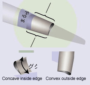 Etaro Scissors Provide Concave Inside Edge and Convex Outside Edge