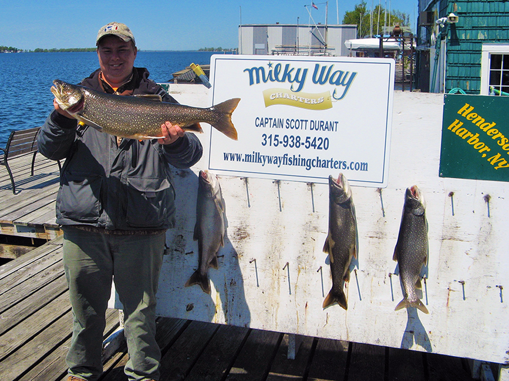 Tim Rooker Jr. Holding Laker - Milky Way Fishing Charters