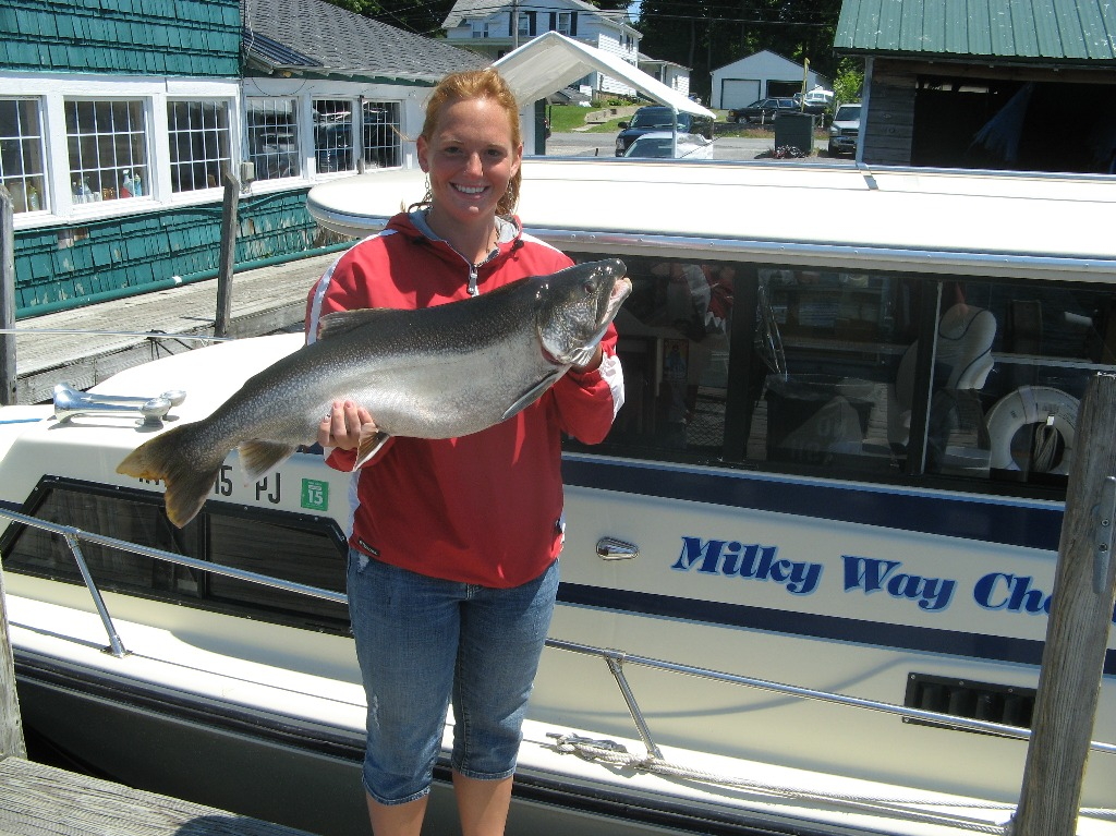 Henderson Harbor Fishing with Milky Way Charters - Allie with her 19 pound trophy Laker!