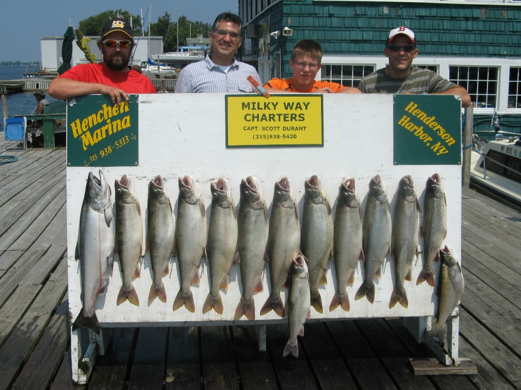 Henderson Harbor Fishing with Milky Way Charters - Limit of Lake Trout with a King and Brown for the Tony Valdez Party