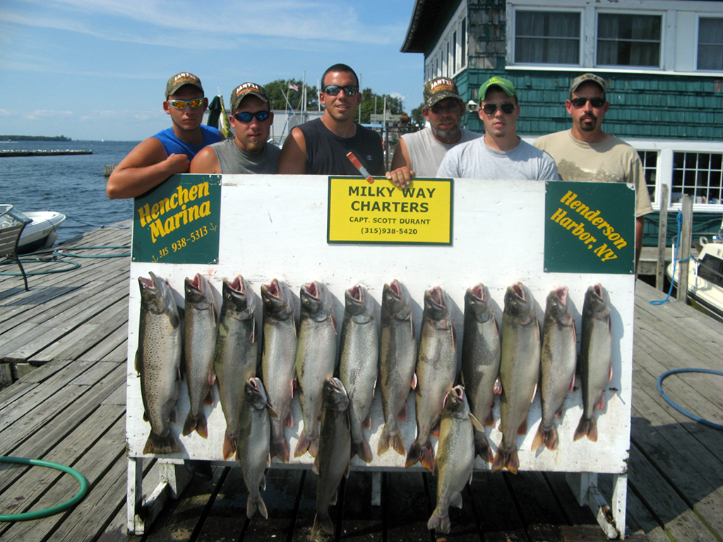 Henderson Harbor Fishing with Milky Way Charters - The Delvin Lehman Party with Lake Trout Limit and a 16 lb. Trophy Brown