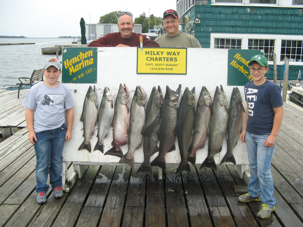 Henderson Harbor Fishing with Milky Way Charters - The Nortz Party Displaying 10 King Salmon!