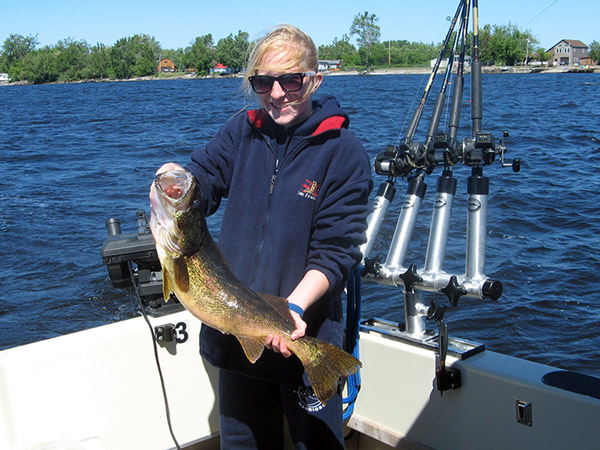 Henderson Harbor Fishing with Milky Way Charters -  Abby with 10 lb. Walleye!