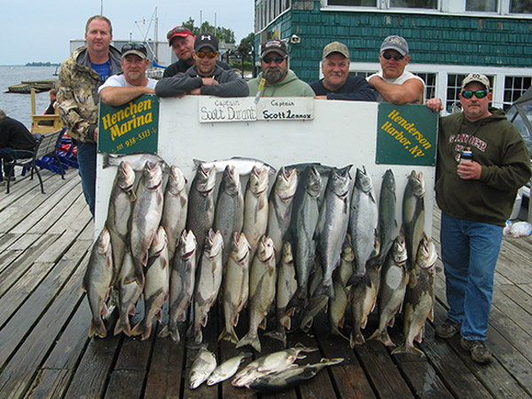 Henderson Harbor Fishing with Milky Way Charters - Nice Catch From 2-Boat Charter!