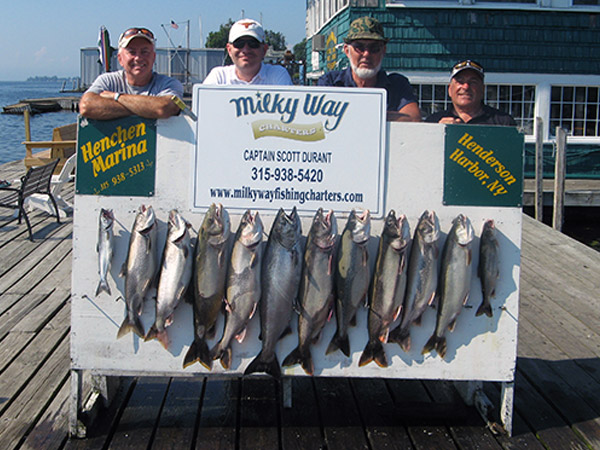 Henderson Harbor Fishing with Milky Way Charters - Phil Scott Party With Lake Trout Limit Plus King