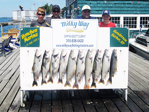 Henderson Harbor Fishing with Milky Way Charters - The Adam Backus Party With Limit of Lakers!