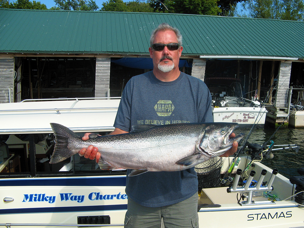 Henderson Harbor Fishing with Milky Way Charters - Nigel with Beauty King Salmon!