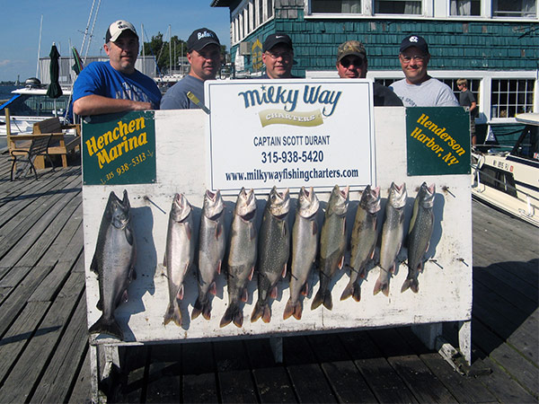 Henderson Harbor Fishing with Milky Way Charters - Paul Mast party - The Neil Nortz Party with 9 Lakers and 1 King!