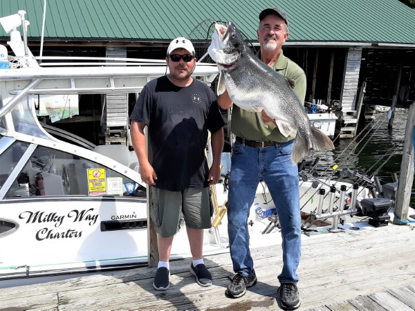 Capt. Scott & Frank Dziczek With Monster 36 Pound Laker!