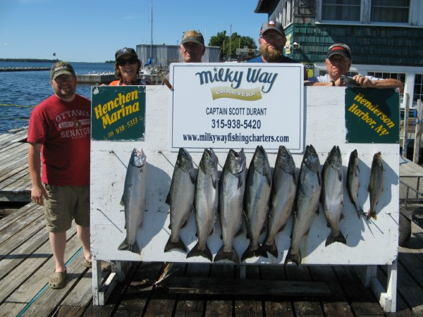 The Ken Hosmer Party with Catch of 8 Kings, 1 Steelhead and 1 Lake Trout!
