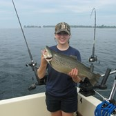 Henderson Harbor Fishing with Milky Way Charters - Great angler - great brown!