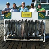 Henderson Harbor Fishing with Milky Way Charters - Rick Welsh Party (Capt. Scott in center) with limit of Kings!