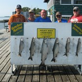 Henderson Harbor Fishing with Milky Way Charters - The Bob Wright party with catch of Lake Trout & one King!