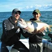 Cameron & Dad, Justin Holding 24.5 Pound Laker!