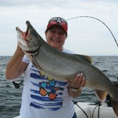 Carmen Displaying Her Lunker Lake Trout!