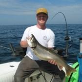 Carson Displaying A Big Lake Trout!