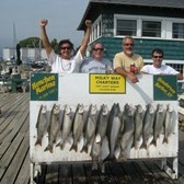 Henderson Harbor Fishing with Milky Way Charters - Kings were slow - Lakers were not!  Limit of Lakers with 1 King