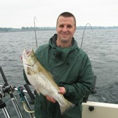 Henderson Harbor Fishing with Milky Way Charters - Nate Olmstead with a Brown Trout!