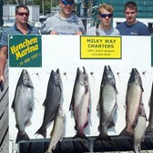 Henderson Harbor Fishing with Milky Way Charters - A nice catch of 6 Kings, 1 Coho & 2 Lakers