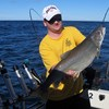 Henderson Harbor Fishing with Milky Way Charters - Matt holding a King!