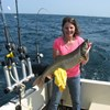 Sheila Holding One of Her Lake Trout!